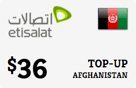 $36.00 Etisalat Afghanistan Prepaid Wireless Top-Up