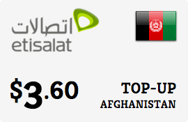 $3.60 Etisalat Afghanistan Prepaid Wireless Top-Up