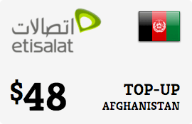 $48.00 Etisalat Afghanistan Prepaid Wireless Top-Up