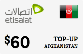 $60.00 Etisalat Afghanistan Prepaid Wireless Top-Up