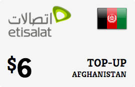 $6.00 Etisalat Afghanistan Prepaid Wireless Top-Up