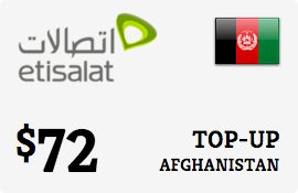 $72.00 Etisalat Afghanistan Prepaid Wireless Top-Up