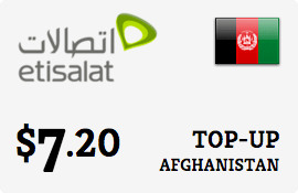$7.20 Etisalat Afghanistan Prepaid Wireless Top-Up