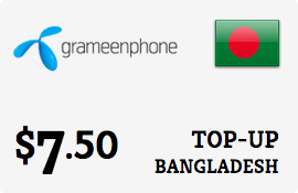 $7.50 Grameenphone Bangladesh Prepaid Wireless Top-Up