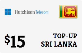 $15.00 Hutchison Sri Lanka Prepaid Wireless Top-Up