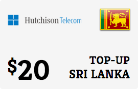 $20.00 Hutchison Sri Lanka Prepaid Wireless Top-Up