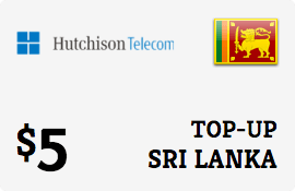 $5.00 Hutchison Sri Lanka Prepaid Wireless Top-Up