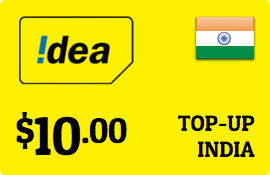$10.00 Idea Cellular India Prepaid Wireless Top-Up