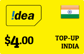 $4.00 Idea Cellular India Prepaid Wireless Top-Up