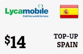 $14.00 Lycamobile Spain Prepaid Wireless Top-Up