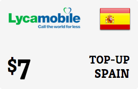 $7.00 Lycamobile Spain Prepaid Wireless Top-Up