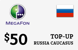 $50.00 Megafon (Caucasus) Russia Prepaid Wireless Top-Up