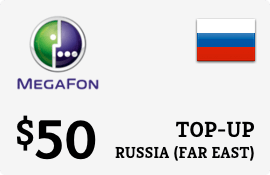 $50.00 Megafon (Far East) Russia Prepaid Wireless Top-Up