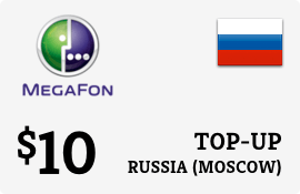 $10.00 Megafon (Moscow) Russia Prepaid Wireless Top-Up