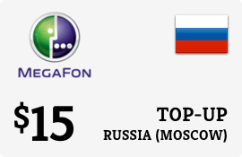 $15.00 Megafon (Moscow) Russia Prepaid Wireless Top-Up