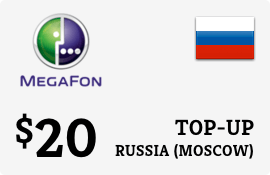 $20.00 Megafon (Moscow) Russia Prepaid Wireless Top-Up