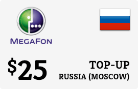 $25.00 Megafon (Moscow) Russia Prepaid Wireless Top-Up