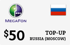 $50.00 Megafon (Moscow) Russia Prepaid Wireless Top-Up