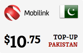 $10.75 Mobilink Pakistan Prepaid Wireless Top-Up