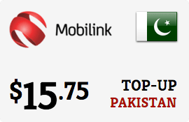 $15.75 Mobilink Pakistan Prepaid Wireless Top-Up