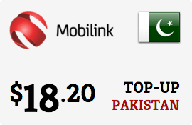 $18.20 Mobilink Pakistan Prepaid Wireless Top-Up