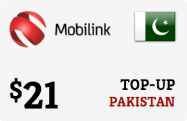 $21.00 Mobilink Pakistan Prepaid Wireless Top-Up