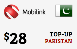 $28.00 Mobilink Pakistan Prepaid Wireless Top-Up