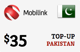 $35.00 Mobilink Pakistan Prepaid Wireless Top-Up