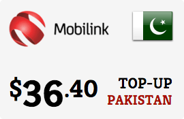 $36.40 Mobilink Pakistan Prepaid Wireless Top-Up