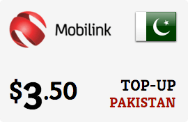 $3.50 Mobilink Pakistan Prepaid Wireless Top-Up