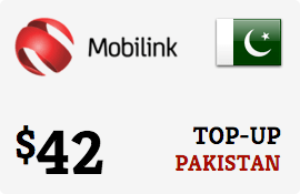 $42.00 Mobilink Pakistan Prepaid Wireless Top-Up