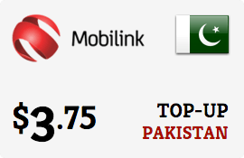 $3.75 Mobilink Pakistan Prepaid Wireless Top-Up