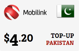 $4.20 Mobilink Pakistan Prepaid Wireless Top-Up