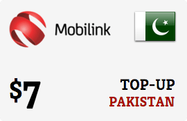 $7.00 Mobilink Pakistan Prepaid Wireless Top-Up