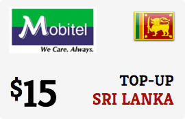 $15.00 Mobitel Sri Lanka Prepaid Wireless Top-Up