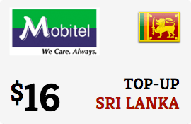 $16.00 Mobitel Sri Lanka Prepaid Wireless Top-Up