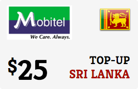 Buy the $25.00 Mobitel Sri Lanka Prepaid Wireless Top-Up | On SALE for Only $25.00