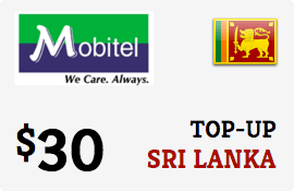 $30.00 Mobitel Sri Lanka Prepaid Wireless Top-Up