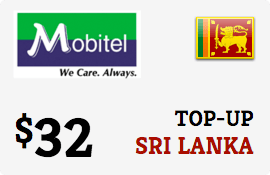 $32.00 Mobitel Sri Lanka Prepaid Wireless Top-Up