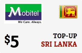 $5.00 Mobitel Sri Lanka Prepaid Wireless Top-Up