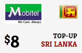 $8.00 Mobitel Sri Lanka Prepaid Wireless Top-Up