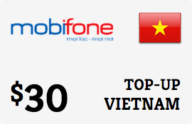 $30.00 MobiFone Vietnam Prepaid Wireless Top-Up