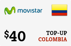 Buy the $40.00 Movistar Colombia Prepaid Wireless Top-Up | On SALE for Only $40.00