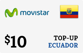 $10.00 Movistar Ecuador Prepaid Wireless Top-Up