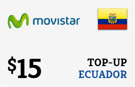 $15.00 Movistar Ecuador Prepaid Wireless Top-Up