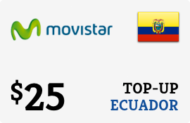 $25.00 Movistar Ecuador Prepaid Wireless Top-Up