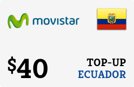 $40.00 Movistar Ecuador Prepaid Wireless Top-Up