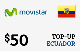 $50.00 Movistar Ecuador Prepaid Wireless Top-Up