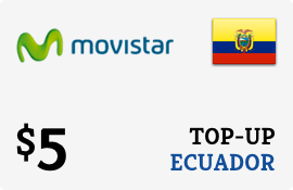 $5.00 Movistar Ecuador Prepaid Wireless Top-Up
