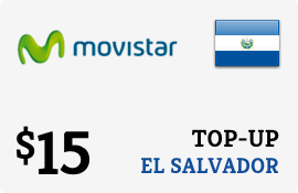 $15.00 Movistar El Salvador Prepaid Wireless Top-Up